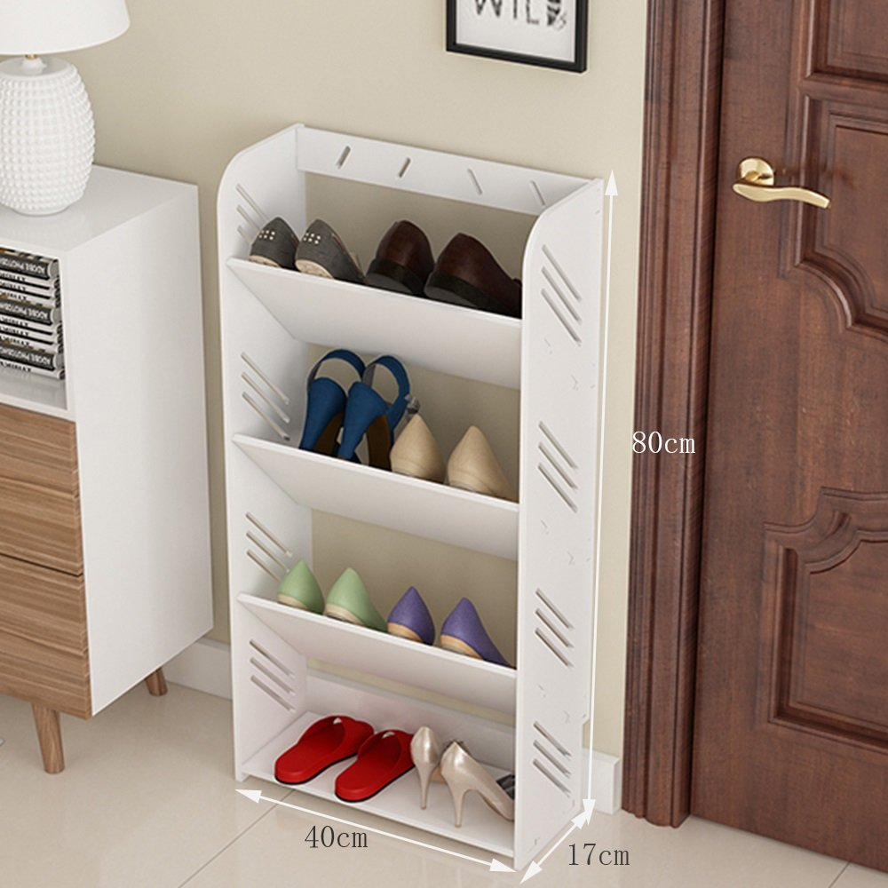 804017cm YD shoes Rack Wood, 4 Story  5 Layer, Clean and Convenient, Waterproof and Durable, No Perforation Inssizetion, Hollow Design, Simple European Style Carved Dustproof Shelf.  & (Size   80  60  17cm)