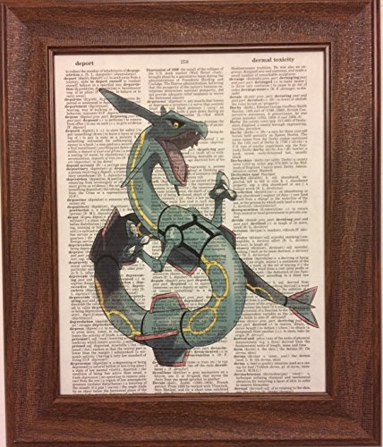 (Ready Prints Rayquaza from Pokemon Dictionary Book Page Artwork Print Picture Poster Home Office Bedroom Nursery Kitchen Wall Decor - unframed)