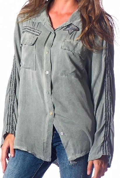 Capucine Moda - Camisas - para mujer verde caqui: Amazon ...