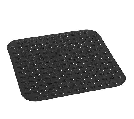 Superbe Wenko 18944100 Shower Mat Tropic Black Nonslip, Suction Pads, Plastic, Black