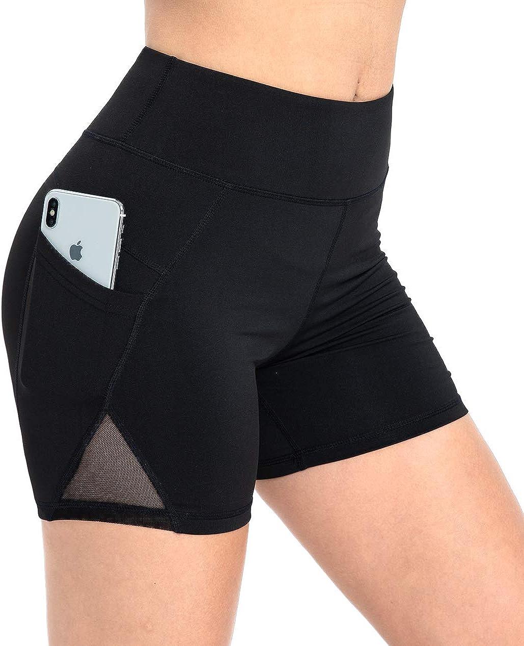 DILANNI Yoga Shorts for Women High Waist Mesh Stretch Running Workout Biker Short Pants