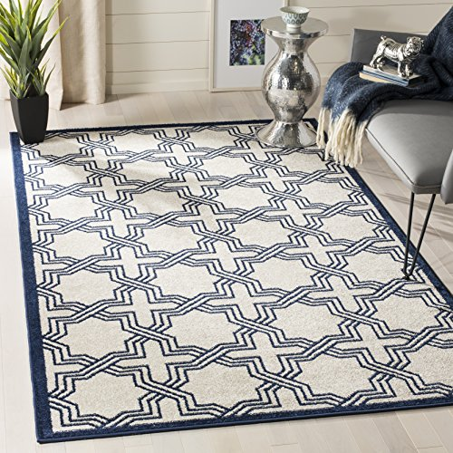 Safavieh Amherst Collection AMT413M Ivory and Navy Indoor/ Outdoor Area Rug (8' x 10')