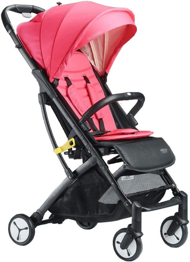 折りたたみ式子供用トロリー超軽量の子供たちはリクライニング式子供用トロリー、背もたれノブタイプ無段階調整 (Color : Pink)