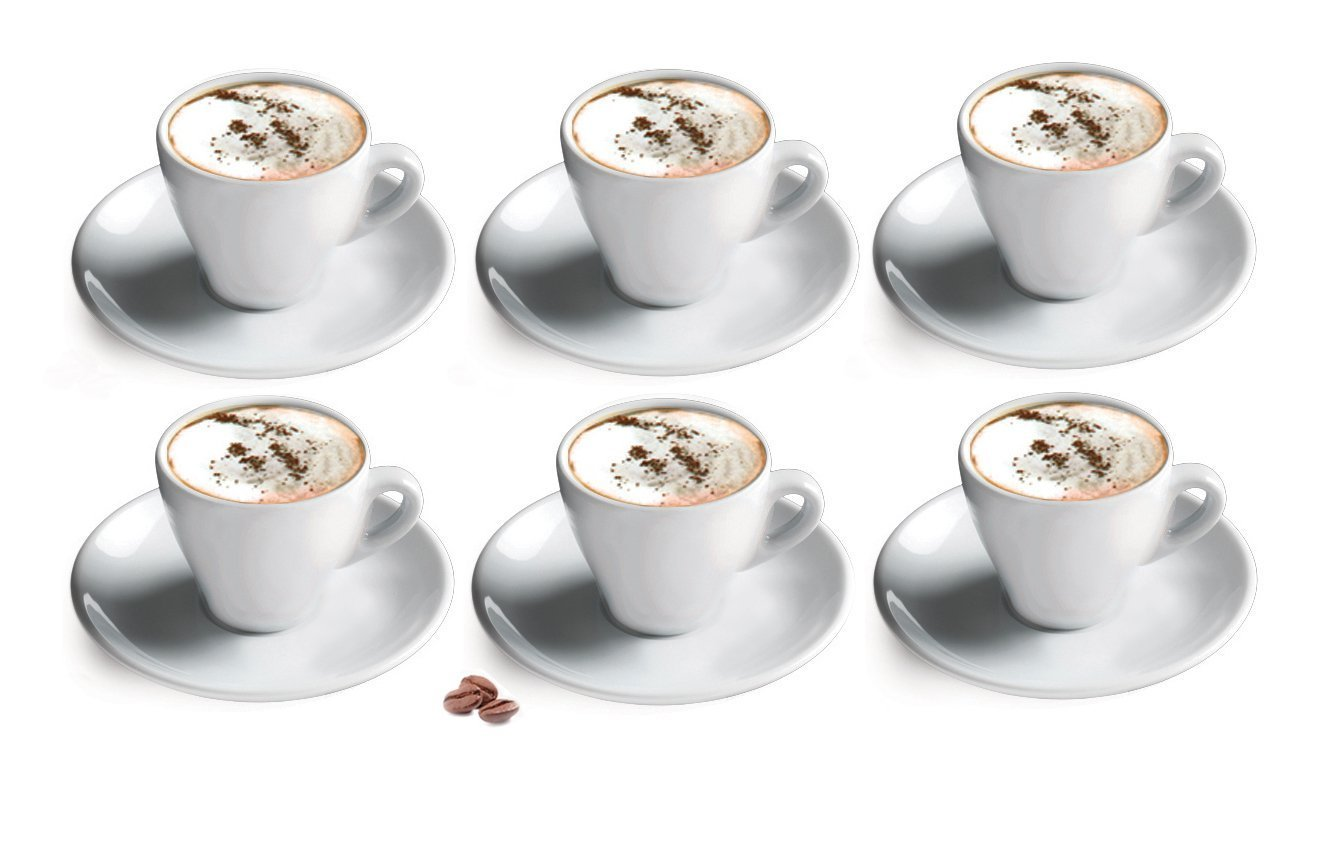 Set of 6 Cappuccino Cups & Saucers by Cuisinox - White Porcelain