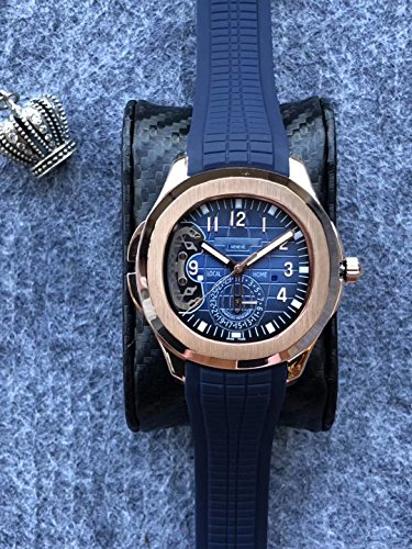 Luxury Brand Stainless Steel Gold Color Blue dial Blue Rubber Skeleton Automatic (self-Wind) Aqua Traveller Watch Watches