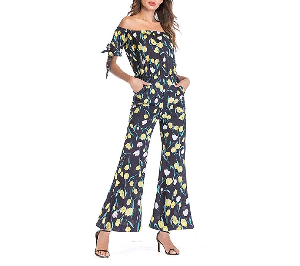 Mfasica Womens Knot Chiffon Off Shoulder Wide Legs Romper Playsuit Jumpsuit