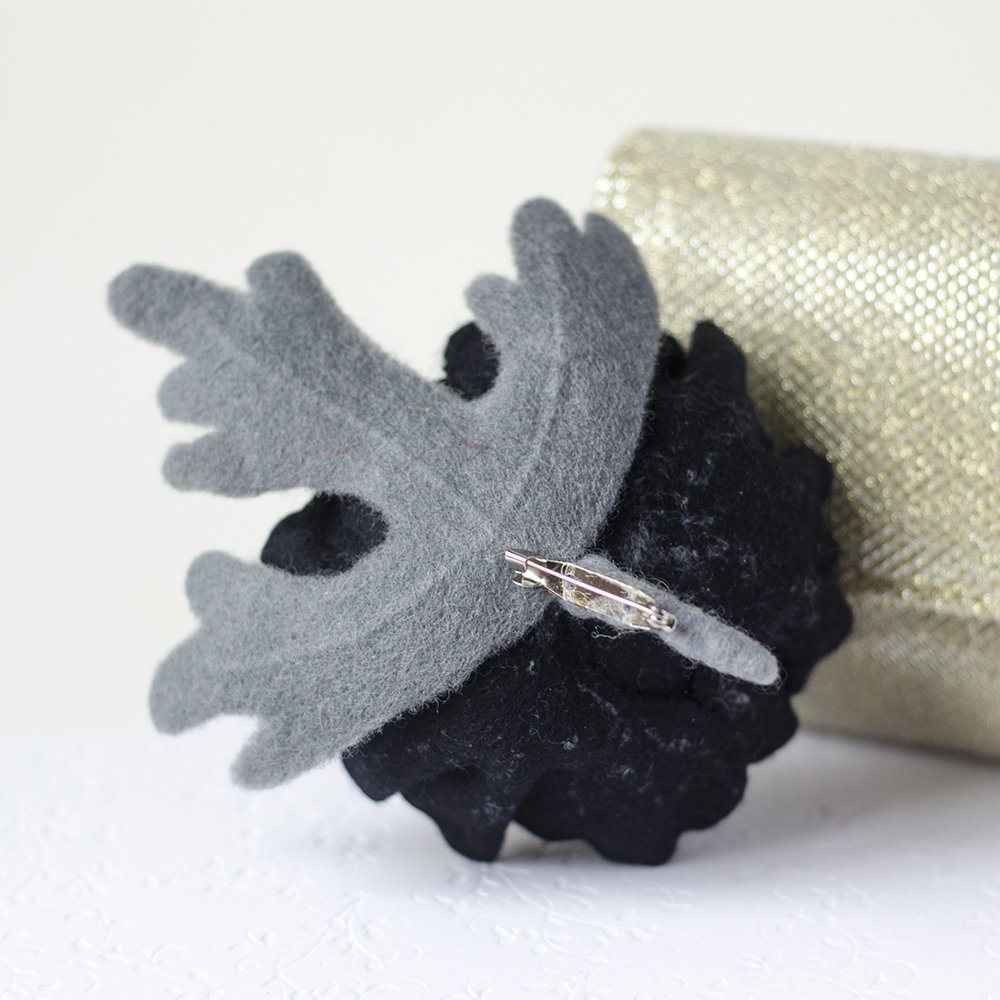 Handmade Black Poppy Brooch Felted Flower Pin Black Flower Jewelry Monochrome jewelry Felt Flower pin Wool Poppy brooch Black broach Gift for Mother Birthday gift for women