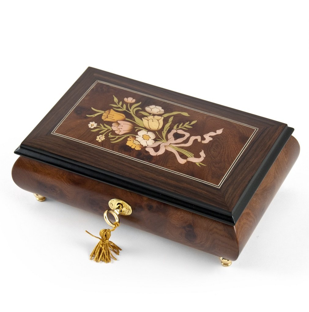 Classic Music Box Features 30 Note Nostalgic Design of A Floral Bouquet Tied With Pink Ribbon - Love is Blue by MusicBoxAttic (Image #1)
