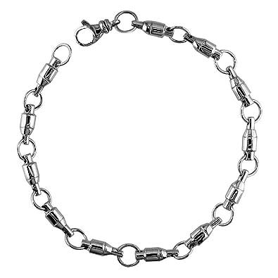 Amazon Com 4mm Size Fishing Swivel Bracelet In 14k White Gold 8