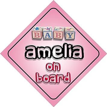 Amazon.com: Baby Girl Amelia on board novedad coche Señal de ...