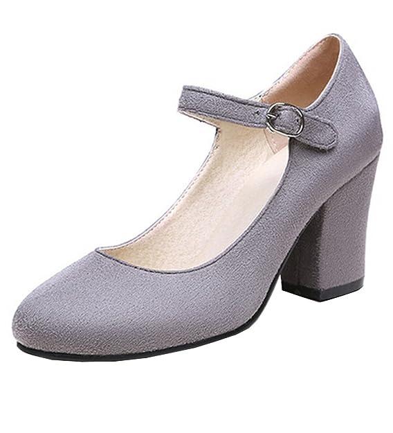 YE Damen Blockabsatz High Heels Mary Jane Pumps mit Riemchen 8cm Absatz Office Work Schuhe with Schnalle