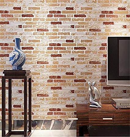 Wallpaper healthy PVC retro style 3D imitation brick texture ...