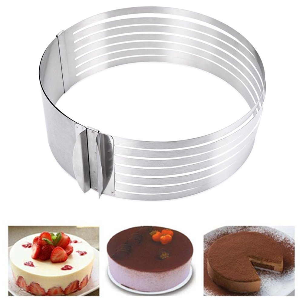 JINBEST Mousse Mould Slicing Cake Adjustable 6'' to 8'' Layer Cake Slicer Stainless Steel Multi Layered Mousse Mould