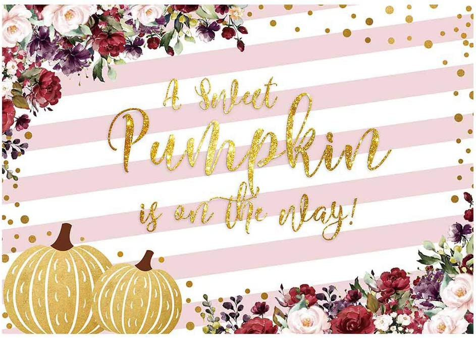 Funnytree 7x5ft Floral Pumpkin Baby Shower Party Backdrop Pink White Stripes Flower Princess Sweet Girl Photography Background Autumn Gold Glitter Polka Dots Cake Table Decoration Banner Photo Booth
