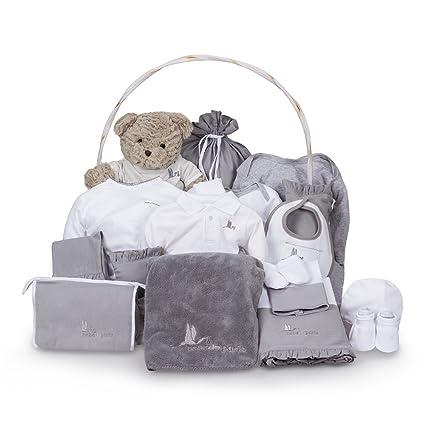 Canastilla regalo bebé Clásica Ensueño BebeDeParis-Gris- cesta regalo recién nacido