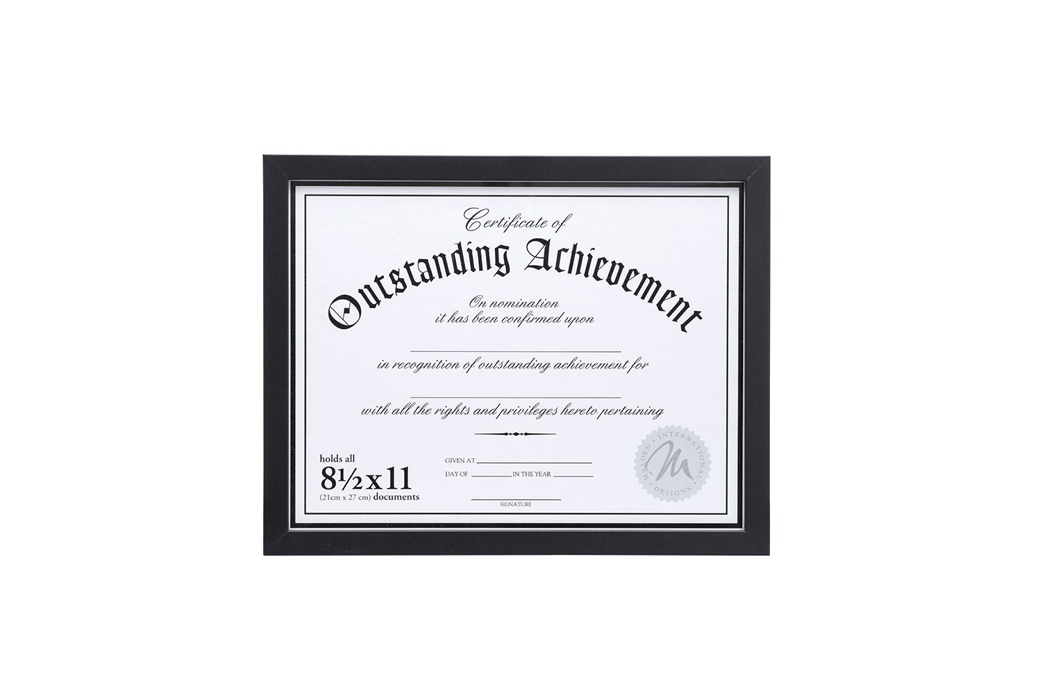 Malden International Designs Wooden Document Frame, Holds 8.5 by 11-Inch Certificate, Black 601-81