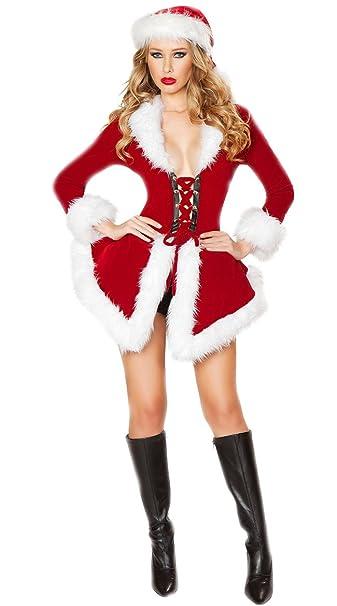 Babbo Natale Femmina Immagini.Iyougou Donna Di Babbo Natale Costume Cappotto Corto Natale Con Cappello