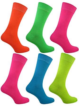 ed2c0b72ff29e Six Pairs Mens TEDDY BOY 70's 80's NEON Socks: Amazon.co.uk: Clothing
