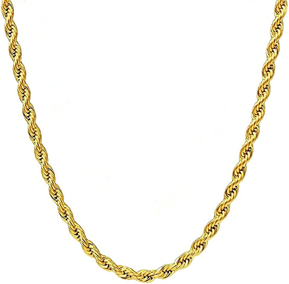 Q S Jewels 3mm Mens Gold Twist Rope Chain Necklace 18k Gold Plated Stainless Steel Chain Necklace Links Fashion Jewelry For Men Women Wear Alone Or With Pendant 18inch Amazon Com
