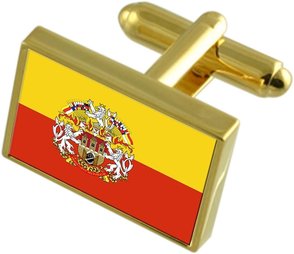 Prague City Czech Republic Gold-tone Flag Cufflinks Engraved Box