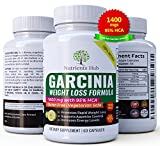 Nutrients Hub 100% Pure Garcinia Cambogia 1400mgs - 95% HCA Extract 60 Veggie Weight Loss pills, Natural Appetite Suppressant, Carb Blocker and Fat Burner Weight Loss Supplement for Women & Men