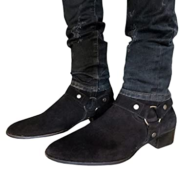 9cb9d429d00 Amazon.com  Mens Wyatt Harness Boots Chunky Low Heel Zip-up Pointed Toe  Faux Suede Winter Ankle Booties  Clothing