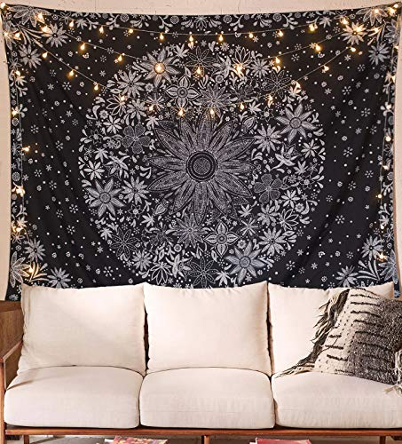 (WE-ART Bohemian Tapestry Wall Hanging,Black Floral Tapestry with Dotted Daisy Medallion Print Bedroom Boho Hippie Home Decor)