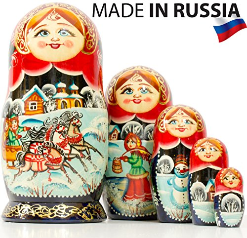 Russian Nesting Doll - Village Scenes - Hand Painted in Russia - 5 Color/Size Variations - Traditional Matryoshka Babushka (6.75``(5 Dolls in 1), Scene I) by craftsfromrussia (Image #1)
