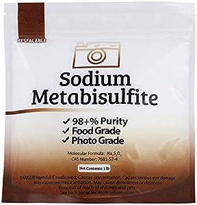 Duda Energy meta01 Sodium Metabisulfite Food Grade/Photo Grade 98.6+% Purity White Granular Solid Crystals, 1 lb.