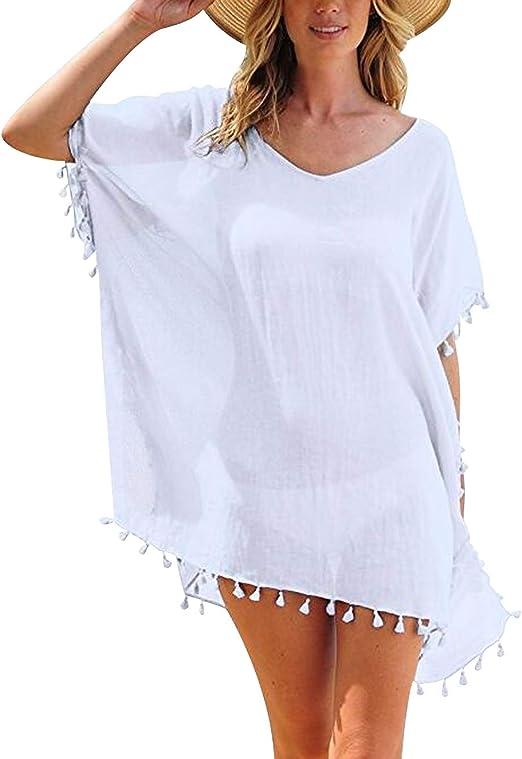 Robe De Plage Femme Courte Tunique Tenue Caftan De Plage Col En V Maillot De Bain Bikini Cover Up Frange Kaftan Sortie Vetement De Plage Chemise Robes De Plages Legere Fluide Grande