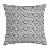 Floral Throw Pillow Cushion Cover by Ambesonne, Hand Drawn Blossom Pattern with Ethnic Featured Eastern Lines and Curved Stripes, Decorative Square Accent Pillow Case, 20 X 20 Inches, Black White