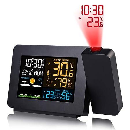 UFLIZOGH Reloj Despertador de Proyección Digital Proyector ...