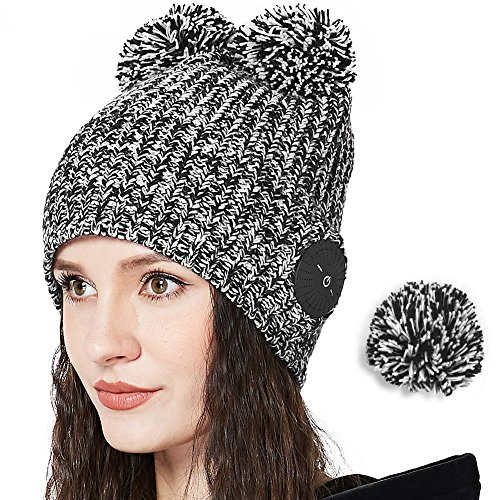 Cables General Blk (Bluetooth Removable Pom Beanie Hat, Keymao Winter Slouchy Knit Cap with Bluetooth Headphones for Women & Men (Black & Gray))