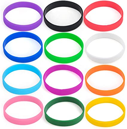 Rubber Bracelets GOGO 12 PCS Silicone Wristbands for Kids Party Favors-cambridgeblue