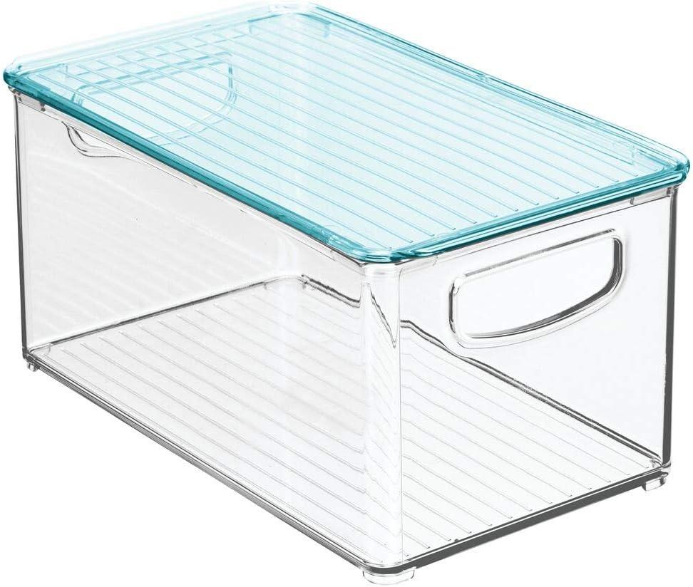 Sortierbox mit praktischen Griffen Stofftiere /& Co Windeln blau//durchsichtig mDesign 2er-Set Kinderzimmer Organizer mit Deckel BPA-freier Kunststoffbeh/älter mit gro/ßem Fach f/ür Spielzeug