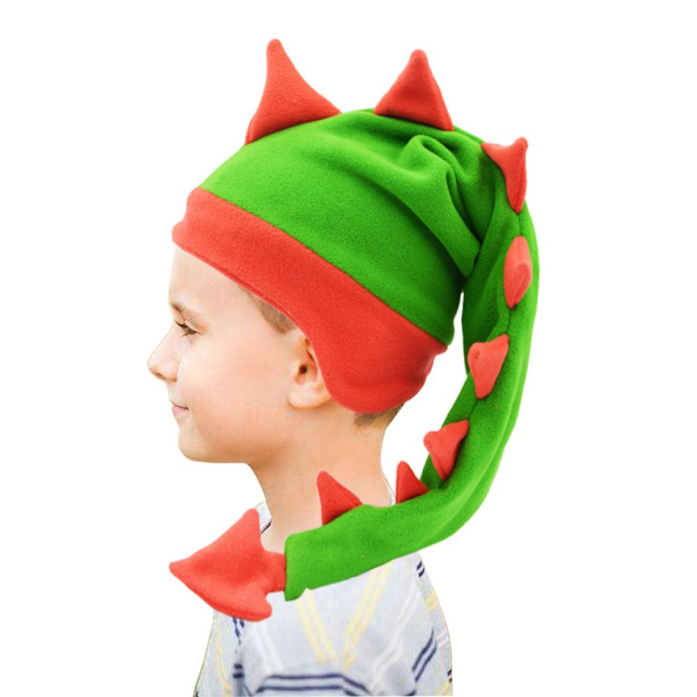 Funkeet Crazy Long Plush Spikes Dragon Stegosaurus Tail Hat Funny Party Carnival Accessory Costume Cap (for Kids, Red + Green)