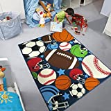 Blue Kids Rug Fun Sport Rugs Lets Play Blue Childrens Rug Balls Print with Soccer Ball, Basketball, Football, Tennis Ball Bedroom Playroom (80120cm(31.5''47''))