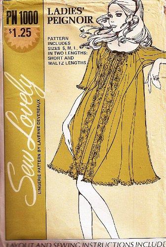 Sew Lovely PN 1000 Ladies Peignoir Lingerie Sewing Pattern Size S-M-L (32