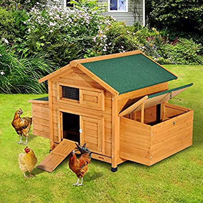 "PawHut 59"" × 39"" × 38"" Deluxe Wooden Chicken Coop Backyard Poultry House with Nesting Box Yellow"