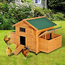 """PawHut 59"""" × 39"""" × 38"""" Deluxe Wooden Chicken Coop Backyard Poultry House with Nesting Box Yellow"""