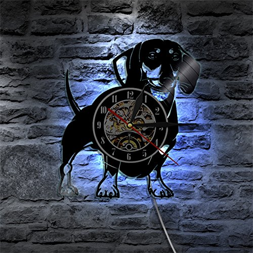 Wall Clock Vinyl Records 3D Home Decorative LED Pet Dog Wall Mounted Clock For Family Room Popular Mechanical Art Decor -30CM (Kitchen Wall 944 Mounted)