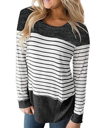 bcb5172e6 A Risonho Womens Tops Long Sleeve T Shirt Color Block Varsity Striped Shirt  Casual Tunic Blouse
