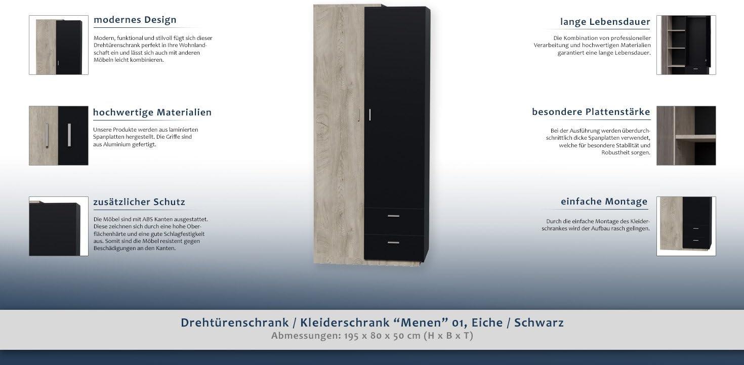 H x B x T Dreht/ürenschrank // Kleiderschrank Menen 01 Abmessungen: 195 x 80 x 50 cm Eiche // Schwarz