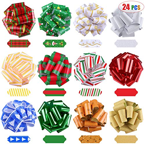 24 Pieces 5'' Wrap Ribbon Pull Bows, Assorted Christmas Gift Wrapping Ribbon Accessories, Bows, Wine Bottles, Baskets, Xmas Dcor Party Supplies