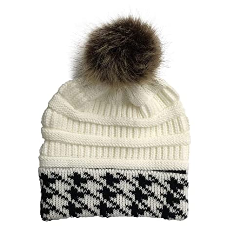 fd0b2991 Aoesila Hat for Women Women Stitching Outdoor Faux Fur Ball Hats Crochet  Knit Holey Beanie Cap Beige at Amazon Women's Clothing store: