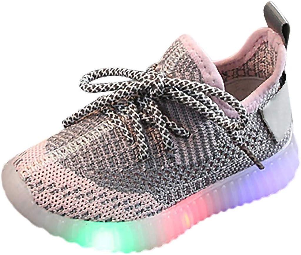 Shusuen Toddler Kids Baby Girls Boys Fashion Light Luminous Soft Sole Sport Sneaker Shoes