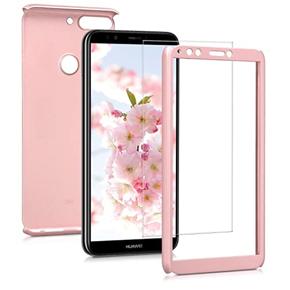 migliori scarpe da ginnastica b5b50 e4787 kwmobile Cover for Huawei Y7 (2018)/Y7 Prime (2018) - Shockproof Protective  Full Body Case with Screen Protector - Metallic Rose Gold