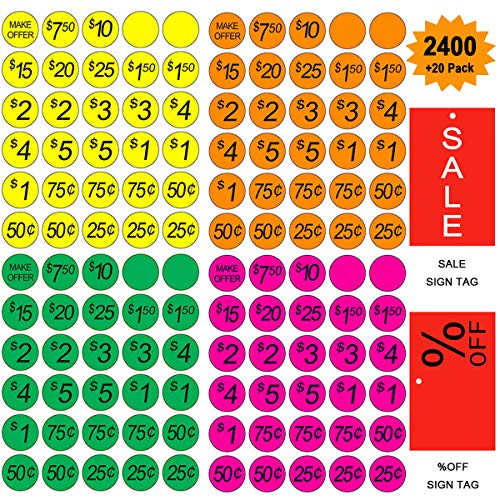 - Garage Sale Pricing Stickers, Yoklili Preprinted Price Labels - Bright Neon Removable Sale Stickers with Prices, Multicolored in Yellow/Pink/Green/Orange, Pack of 2400,Sale & Percent off Sign Included