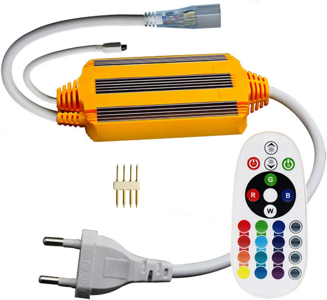 VAWAR 220V transformador de fuente de alimentación para tira de 5050 RGB LED, impermeable IP68, con telemando IR de 24 botones, SOLO transformador, SIN tira