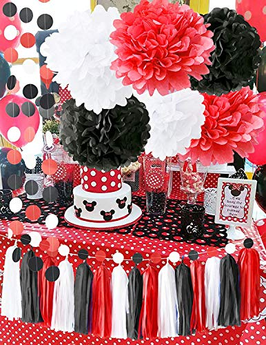 Minnie Mouse Party Supplies White Black Red Baby Ladybug Birthday Party Decorations/First Birthday Girl Decorations Tissue Paper Pom Pom Tassel Garland Minnie Mouse Birthday Party Decorations -
